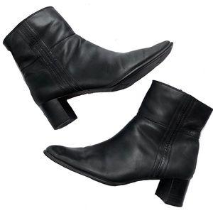 Apostrophe Square Toe Black Leather Boots Size 9.5